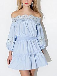 Robe Aux femmes Gaine Vintage / Simple,Couleur Pleine Bateau Au dessus du genou Coton / Polyester