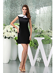 Cocktail Party Dress-Black Sheath/Column Jewel Short/Mini Satin