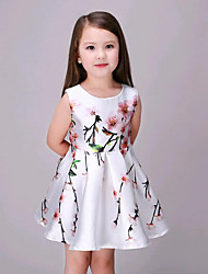 Girl's Casual/Daily Floral Dress / Blouse,Cotton Summer White