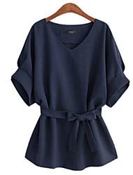 Tee-shirt Aux femmes,Couleur Pleine Décontracté / Quotidien Grandes Tailles / simple Eté ½ Manches Col en V Bleu / Rouge / Gris / Vert