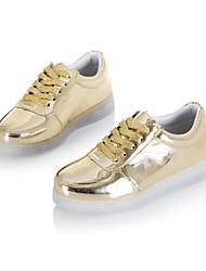 meninos sapatos levou ao ar livre / Atlético / ocasional sapatilhas de couro sintético de moda preto / branco / prata / ouro