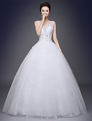 Ball Gown Wedding Dress Floor-length V-neck Satin / Tulle with Pattern