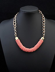 Bohemia Orange Color Round Bead Gold Chain Necklace Suits Fashion Necklace Sets For Women