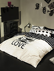 White striped with letters duvet cover Sets 100% Cotton Bedding Set Queen/Double/Full Size