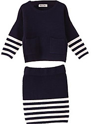 Two Pcs Striped Pockets Sweater Girls Skirt Suit