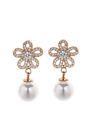 Sjeweler Girls Gold Plating Pearl Stud Earrings Flower Earrings