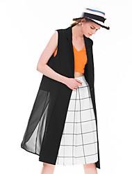 Goelia® Women's Translucent Shirt Collar Sleeveless Long Jackets (Black)-163F6A060