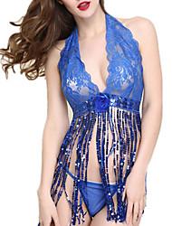 Lingerie en Dentelle / Ultra Sexy / Costumes Vêtement de nuit Femme,Sexy / Lace Dentelle / Polyester / Spandex Bleu Aux femmes