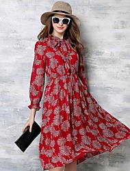 Women's Street chic Print Swing Dress,Stand Knee-length Polyester