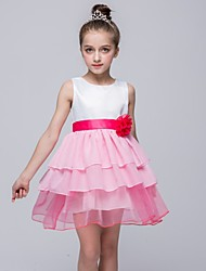 A-line Short / Mini Flower Girl Dress - Polyester Chiffon Satin Tulle Jewel with Bow(s) Flower(s) Sash / Ribbon