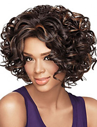 Women Afro Brown Curly Synthetic Hair Wig