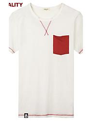 Trenduality® Hombre Escote Redondo Manga Corta Camiseta Blanco-43142