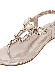 Women's Shoes Leatherette Summer Comfort Outdoor / Casual Flat Heel Crystal / Imitation Pearl Black / Silver / Gold