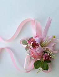 Fleurs de mariage Noué à la main Roses Lis Petit bouquet de fleurs au poignet Mariage La Fête / soirée Coton Soie