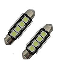 1.5W Festoon Luces Decorativas 4 SMD 5050 80-90lm lm Blanco Fresco DC 12 V 2 piezas