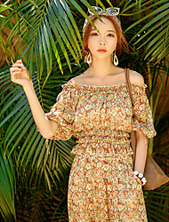 Women's Floral Beige Blouse,Off Shoulder ½ Length Sleeve