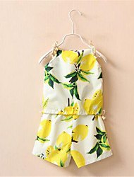 Girl's Yellow Clothing Set,Print Cotton Summer