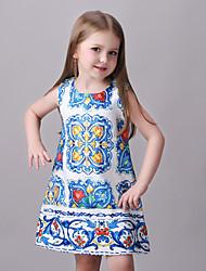 Menina de Vestido Poliéster Verão Azul