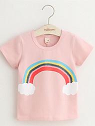 2016 New Fashion Women Casual Cartoon Eye Star Cloud Rainbow Bird Print Cotton Cute Pink T-Shirts Tees