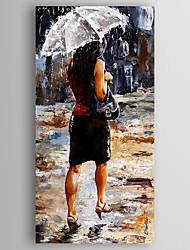 Oil Painting a Woman with an Umbrella  Hand Painted Canvas with Stretched Framed