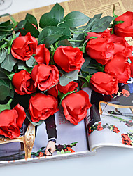 A Branch Silk Red Roses Artificial Flowers 1pc/set