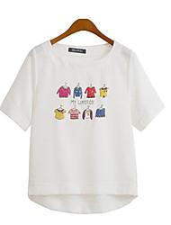 Damen Druck Street Schick Lässig/Alltäglich / Übergröße T-shirt,Rundhalsausschnitt Sommer Kurzarm Weiß / Beige Polyester Mittel
