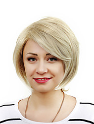 Capless Women Fashion Lady Student Bobo Short Wave Synthetic Hair Wigs Beige with Free Hair Net
