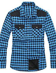 Lesmart Da uomo Colletto Maniche lunghe Shirt & Camicetta Blu / Rosso - SX13151