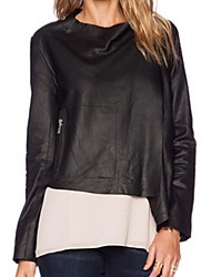 Women's Solid Black Jackets,Plus Size Shirt Collar Long Sleeve