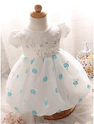 A-line Knee-length Flower Girl Dress - Organza Jewel with Flower(s) Sash / Ribbon