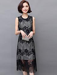 2016 Summer Stripe Sleeveless Lace Beach Dress