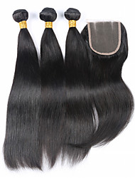 Hair Weft with Closure Brazilian Texture Straight hair weaves