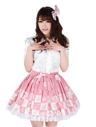 Alice Chess Knee-length Pink Polyester Sweet Princess Lolita Skirt