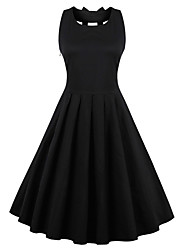 Women's Elegant Pure Color Vintage Style Rockabilly Party Dress