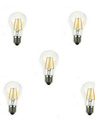 5pcs a60 4w e27 400lm 360 degrés chaud blanc froid couleur edison filament lumière / LED lampe à incandescence (AC220V)