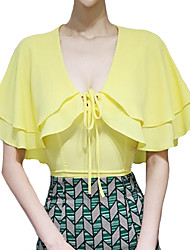 Women's Going out Sexy Summer Blouse,Solid V Neck ½ Length Sleeve Red / Yellow Rayon / Polyester Thin