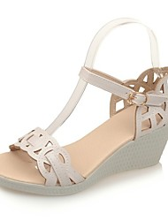 Calçados Femininos-Sandálias / Saltos-Anabela / Inovador / Botas da Moda / Sapatos com Bolsa Combinando / Conforto-Rasteiro-Rosa / Branco