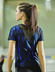 Corrida Camiseta / Blusas Mulheres Manga Curta Secagem Rápida Tactel Ioga / Fitness / Corridas / Corrida Esportivo Wear Sports