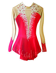 Robe de Patinage Femme Manches longues Patinage Jupes & Robes / Robes Robe de patinage artistique Elasthanne Rouge Tenue de Patinage