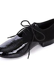 Non Customizable Men's Dance Shoes Practice Shoes/Ballroom/Modern Leatherette Chunky Heel Black
