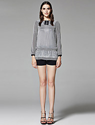 ZigZag® Women's Round Neck Long Sleeve Shirt & Blouse Gray - 11117