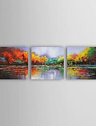Peint à la main Paysage / Paysages AbstraitsModern Trois Panneaux Toile Peinture à l'huile Hang-peint For Décoration d'intérieur