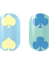 желтый / синий полые наклейки для ногтей