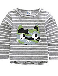 Girl's Red / Gray Tee,Stripes / Cartoon Cotton Winter