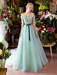 Formal Evening Dress-Sky Blue Ball Gown Off-the-shoulder Court Train Lace / Tulle
