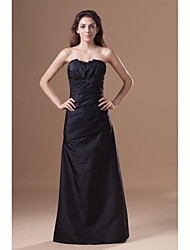 Sheath / Column Strapless Floor Length Taffeta Formal Evening Dress with Draping Side Draping