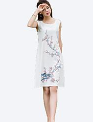 Women's Simple Floral A Line Dress,Round Neck Knee-length Linen