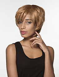 Youthful  Short Straight Hair Capless Remy Hand Tied Top woman's wig