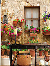 effet cuir shinny grand fond d'écran mural 3d rétro maison et fleurs mur d'art déco pour le salon arrière-plan