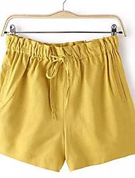 Pantalon Aux femmes Shorts Street Chic Coton / Lin Non Elastique